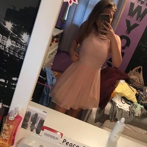 Pink sparkly homecoming dress